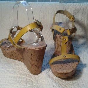 MONTEGO BAY yellow cork style wedge heel sandal